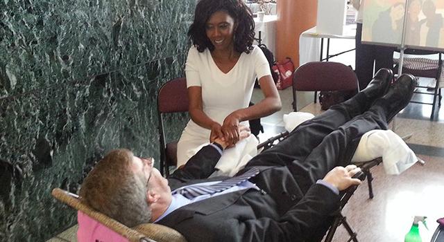 hand reflexology   Jim Watson Mayor   SchoolofCT   School of Complementary Therapies   Wendy Greene